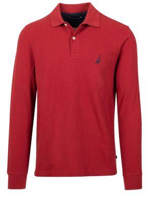 NAUTICA Ανδρική κόκκινη μακρυμάνικη πικέ πόλο μπλούζα 3NCK03150-6VN