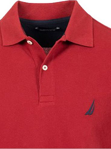 NAUTICA Ανδρική κόκκινη μακρυμάνικη πικέ πόλο μπλούζα 3NCK03150