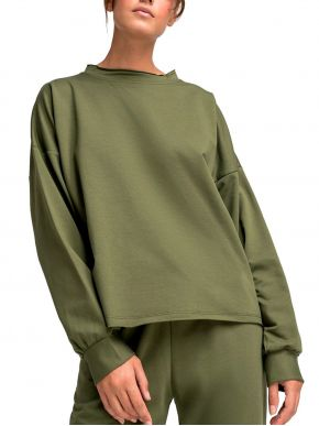 VETO Γυναικεία λαδί αχνούδιαστης φούτερ μπλούζα φόρμα