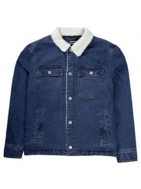 EMERSON Ανδρικό μπλέ τζιν γούνινο μπουφάν 192.EM18.113 DN BLUE