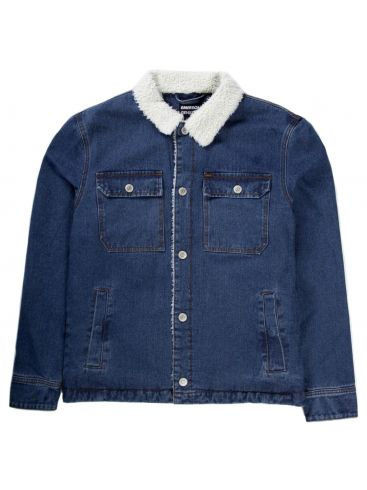 BASEHIT Ανδρικό μπλέ τζιν γούνινο μπουφάν 192.EM18.113 DN BLUE