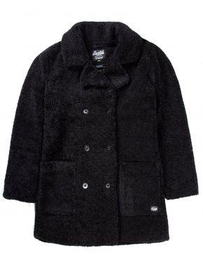 BASEHIT Γυναικείο μαύρο γούνινο παλτό 192.BW17.138 FR BLACK