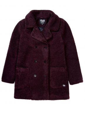 BASEHIT Γυναικείο μπορντό γούνινο παλτό 192.BW17.138 FR WINE