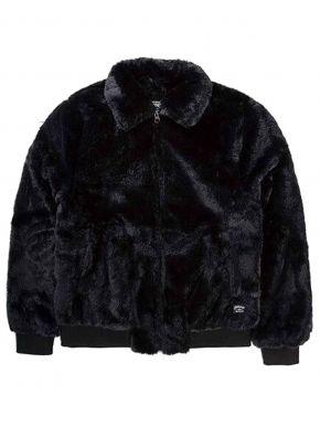EMERSON Γυναικείο μαύρο γούνινο μπουφάν 192.EW17.141 FR BLACK