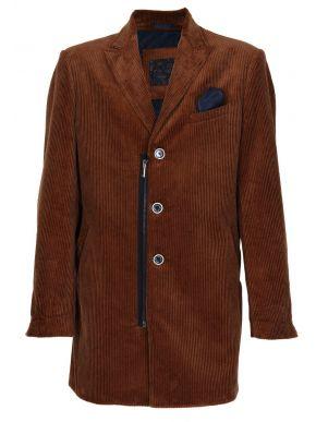 STEFAN Ανδρικό καφέ μακρύ μεσάτο κοτλέ παλτό. 7512