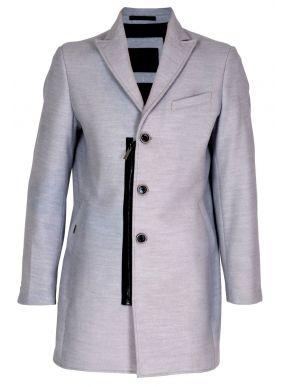 STEFAN Ανδρικό γκρί μακρύ μεσάτο βελούρ παλτό. 7309