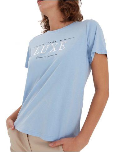 FRANSA Γυναικείο γαλάζιο κοντομάνικο μπλουζάκι 20608804