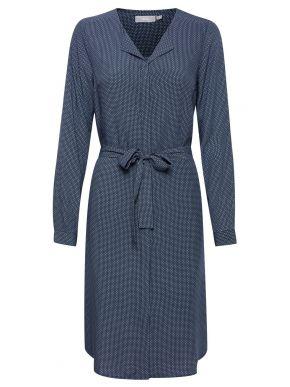 FRANSA Μακρυμάνικο μπλέ φόρεμα, μικροσχέδια 20608805