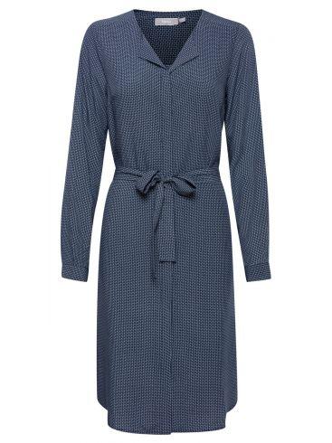 FRANSA Κοντομάνικο τζιν φόρεμα με γιακά 20608805