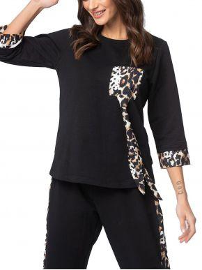 VETO Γυναικείο μαύρη λεπτή μπλούζα φόρμας λεοπάρ. δεν χνουδιάζει