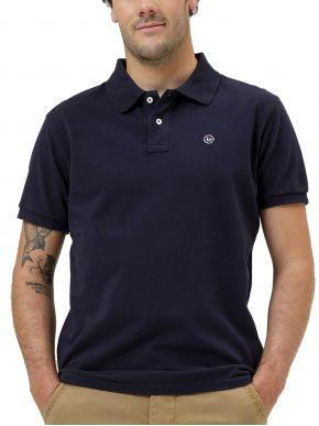 BASEHIT Ανδρική μπλέ navy κοντομάνικη πικέ πόλο μπλούζα 211.BM35.68GD NAVY BLUE