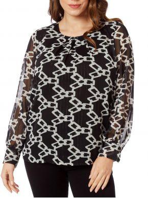 ANNA RAXEVSKY Γυναικείο ασπρόμαυρη μπλούζα μουσελίνα lurex B20240 Black