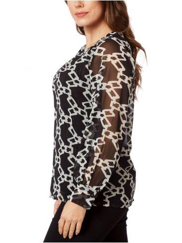 RAXSTA Γυναικείο ασπρόμαυρη μπλούζα μουσελίνα lurex B20240 Black