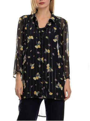 ANNA RAXEVSKY Γυναικείο φλοράλ πουκάμισο μουσελίνα λούρεξ Z20105 BLUE
