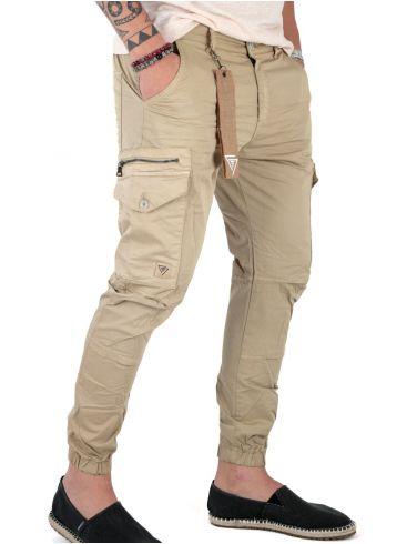 STEFAN Ανδρικό εκρού ελαστικό χαμηλοκάβαλο cargo παντελόνι