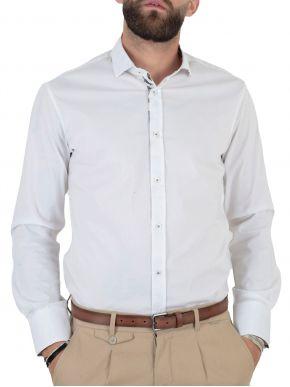 STEFAN Ανδρικό λευκό μακρυμάνικο μεσάτο πουκάμισο 9016