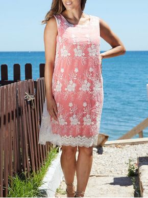 ANNA RAXEVSKY Γυναικείο κοραλί αμάνικο φόρεμα, κιπούρ δαντέλα DF20119