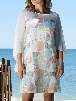 ANNA RAXEVSKY Γυναικεία πολύχρωμο ολοκέντητο μίντι φόρεμα με παγιέτα D20123