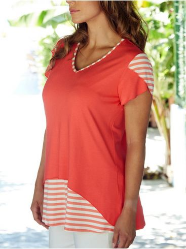 ANNA RAXEVSKY Γυναικεία κοραλί κοντομάνικη μπλούζα ριγέ V B20109 CORAL