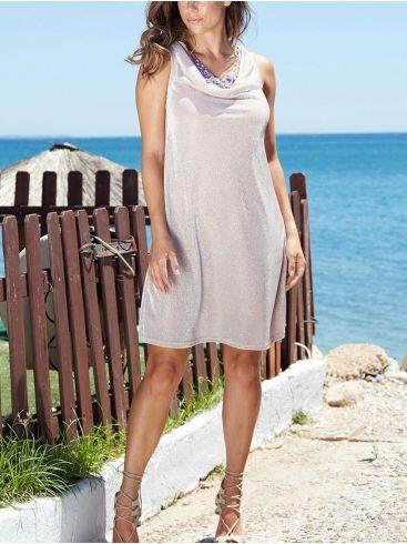 ANNA RAXEVSKY Γυναικεία ρόζ αμάνικο φόρεμα με γκλίττερ D20124 PINK