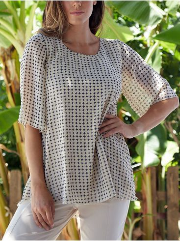 ANNA RAXEVSKY Γυναικεία Μπλούζα μουσελίνα λούρεξ, άλφα γραμμή. B20126