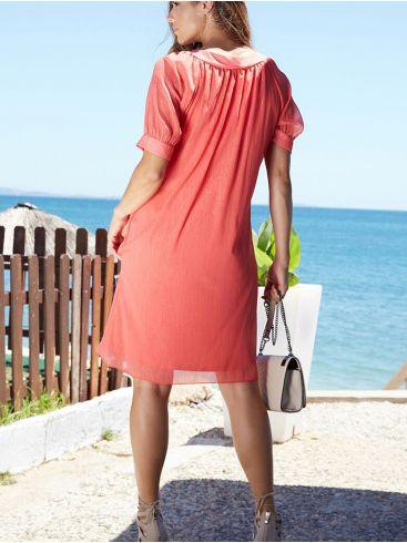 ANNA RAXEVSKY Γυναικεία κοραλί κοντομάνικο φόρεμα D20127 CORAL