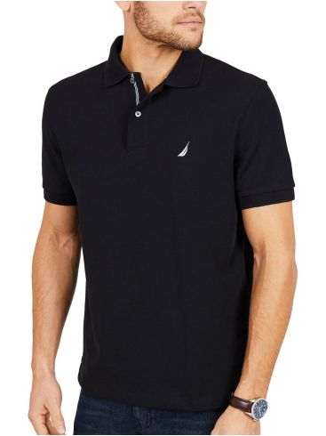 NAUTICA Ανδρικό μαύρο κοντομάνικο μπλουζάκι πόλο πικέ K41050 OTB True Black