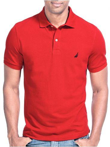 NAUTICA Ανδρικό κόκκινο κοντομάνικο μπλουζάκι πόλο πικέ K41050 6NR NAUT RED