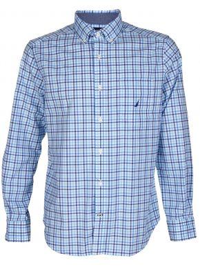 NAUTICA Ανδρικό μπλέ καρό μακρυμάνικο πουκάμισο 3NCW92210 1BW Bright WHT