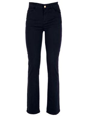 SARAH LAWRENCE Γυναικείο μπλέ navy high waist straight ελαστικό παντελόνι καπαρντίνα 2-200240 Navy