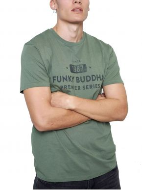 More about FUNKY BUDDHA Ανδρικό χακί T-Shirt, regular fit. FBM003-013-04 KHAKI