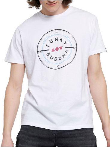 FUNKY BUDDHA Ανδρικό λευκή T-Shirt, regular fit. FBM003-055-04 WHITE