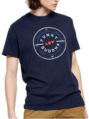 More about FUNKY BUDDHA Ανδρικό μπλέ navy T-Shirt, regular fit. FBM003-055-04 Navy