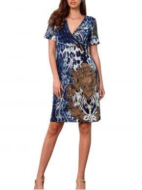 ANNA RAXEVSKY Γυναικείο μπλε-μπέζ εμπριμέ λεοπάρ κρουαζέ φόρεμα. D21103.