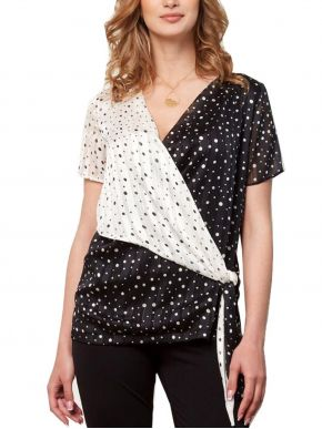 ANNA RAXEVSKY Γυναικεία ασπρόμαυρη κρουαζέ μπλούζα B21125