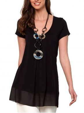 ANNA RAXEVSKY Γυναικεία μαύρη κοντομάνικη μπλούζα B21129 BLACK