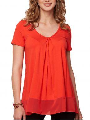 ANNA RAXEVSKY Γυναικεία κοραλί κοντομάνικη μπλούζα B21129 CORAL
