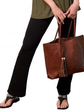 ANNA RAXEVSKY Γυναικείο μαύρο παντελόνι ελαστικό με μπάσκα T21100 BLACK