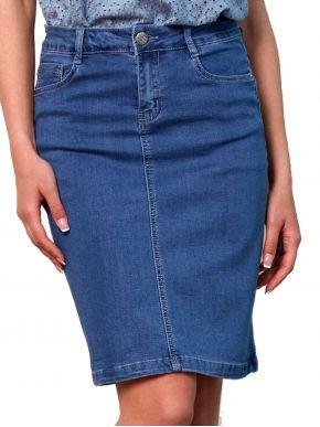 ANNA RAXEVSKY Γυναικείο μπλέ τζιν ελαστική φούστα F21104