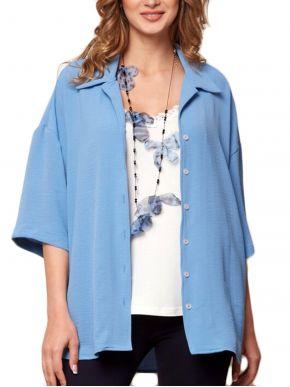 ANNA RAXEVSKY Γυναικείο γαλάζιο oversize πουκάμισο Z21104 LTBLUE