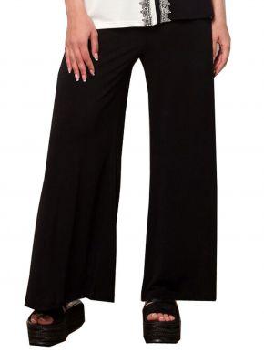 ANNA RAXEVSKY Γυναικείο μαύρη παντελόνα ελαστική με μπάσκα T21101 BLACK