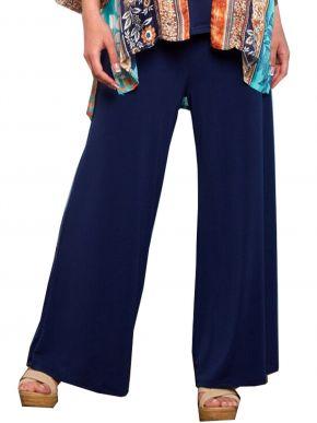 ANNA RAXEVSKY Γυναικείο μπλέ παντελόνα ελαστική με μπάσκα T21101 BLUE