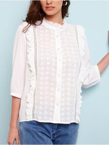 ANNA RAXEVSKY Γυναικείο κοντομάνικο κηπούρ πουκάμισο μάο Z21108