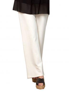 ANNA RAXEVSKY Γυναικείο εκρού ελαστικό παντελόνι με μπάσκα, T21100 ECRU