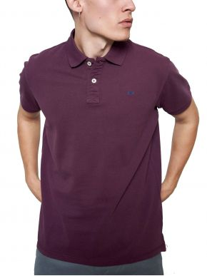 FUNKY BUDDHA Ανδρική μώβ κοντομάνικη μπλούζα πόλο πικέ FBM003-001-11 Berry