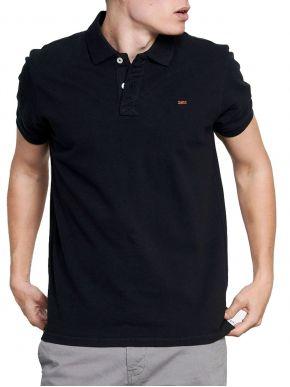 FUNKY BUDDHA Ανδρική μαύρη κοντομάνικη μπλούζα πόλο πικέ. FBM003-001-11 Black