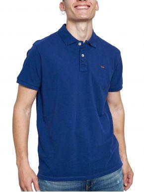 FUNKY BUDDHA Ανδρική μπλέ κοντομάνικη μπλούζα πόλο πικέ. FBM003-001-11 Cobalt