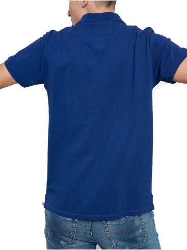 FUNKY BUDDHA Ανδρικό μπλέ κοντομάνικο μπλούζα πόλο πικέ. FBM003-001-11 Cobalt