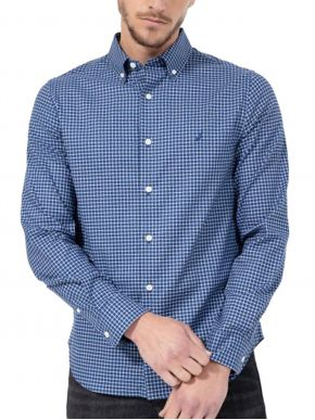 NAUTICA Ανδρικό μπλέ ψιλό καρό μακρυμάνικο πουκάμισο 3NCW15912 4ES EstateBlue