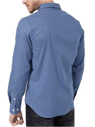 NAUTICA Ανδρικό μπλέ καρό μακρυμάνικο πουκάμισο 3NCW03202 4VG WINDSURFVL